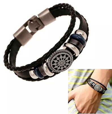 Men / Women Leather Cute Cool Braided Cuff Wrap Bracelet Jewellery Wristband