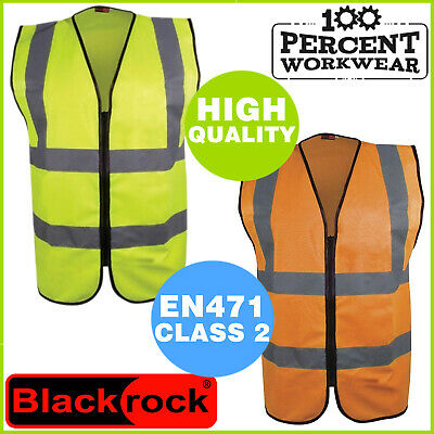 Blackrock Safety High Visibility Hi Vis Viz Zipped Vest Waistcoat Yellow Orange