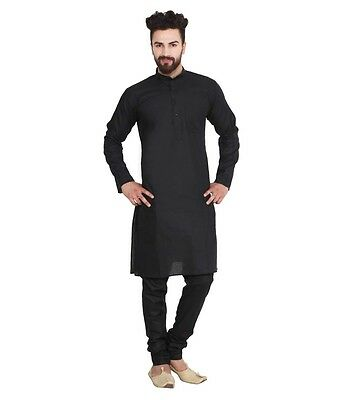 Black Cotton Kurta Pajama For Men Yoga Indian Clothing Ethnic Traditional Plain