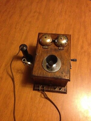 RARE Vintage & Collectible DEVEAU Oak Wall Phone Candlestick Antique Hand Crank