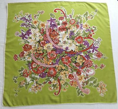 """William Shakespeare Silk Scarf Large Colorful Flower Bouquet  26"""" X 26""""~"""
