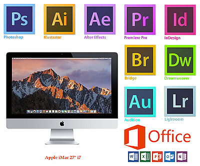 "APPLE iMAC 27"" i7,16GB,1TB+420 SDD Adobe Photoshop,Illustrator,InDesign,Office16"