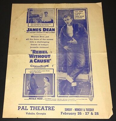 Rebel Without A Cause (1956) James Dean Herald / Phenix City On Reverse ~ G-Vg!