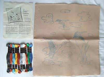 Vintage Embroidery Cushion Cover Pattern, Thread + Instructions: Ducks In Flight