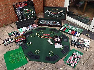 CASINO GAMES TABLE - BlackJack Roulette Craps Poker With Roulette Wheel & Chips