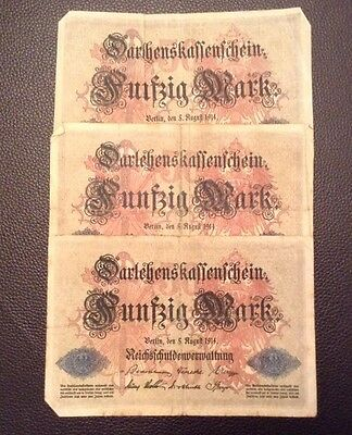 German Banknotes. 3 Pieces. 50 Marks. Dated 1914. Vintage