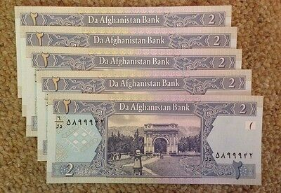 Lot Of 5 Afghanistan Banknotes. 2 Afghanis. Uncirculated