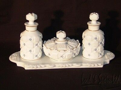 Westmoreland OLD QUILT Milk Glass 4 Piece HP Dresser Set-Tray, Jar & 2 Bottles