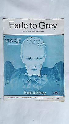 VISAGE Fade To Grey UK A4 sized sheet music – some age marks to cover