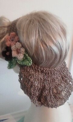 Vintage style 1940's handmade hair snood wartime ww2 Victorian light brown