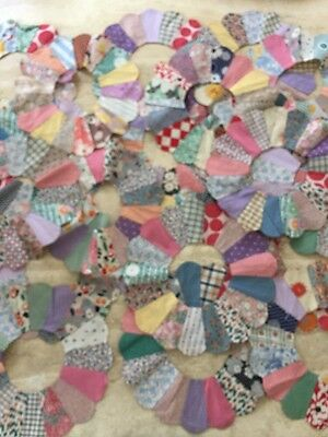 Lot 20 Vintage ANTIQUE Feedsack Fabric Hand Sewn pieces
