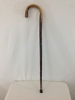 "Vintage Antique Look Curved Handle 36"" Natural Wood Walking Stick Cane"
