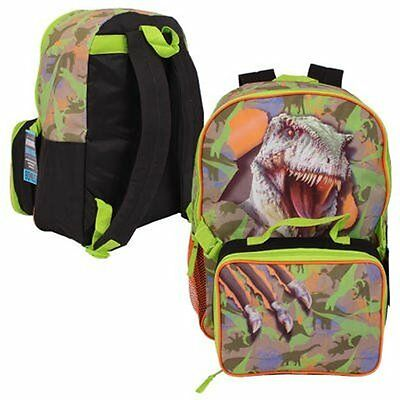 """Green Dinosaur Backpack with Lunch Bag - 16"""" #395031"""
