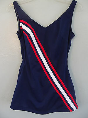 VTG,1960s~ROBBY LEN FASHIONS~Bombshell/Pin-up~Red/White/Blue~Swimsuit~15/16