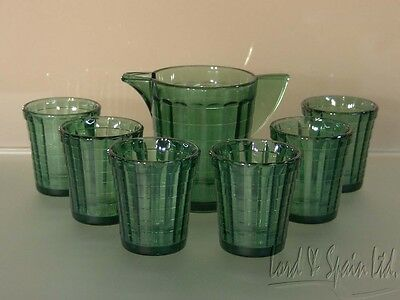 Green Akro Agate STACKED DISC & INTERIOR PANEL 7 Pc Childs Toy Beverage Set