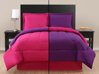 Pink/ Purple Reversible Comforter Set