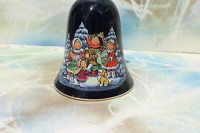 VTG Avon Christmas 1987 Cobalt Blue Porcelain Bell with Snowflake Bisque Handle