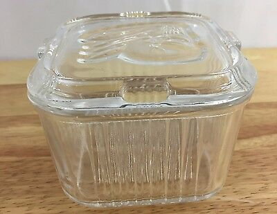 Federal Glass Refrigerator Glass Dish With Lid Vegetables Design Lid Vintage