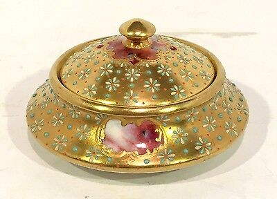 RARE 19th c. COALPORT English Porcelain JEWELED BOX & COVER Gold & Enamel