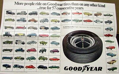 NOS 1971 Goodyear Polyglas Tires Poster Dodge Plymouth Ford Chevrolet AMC