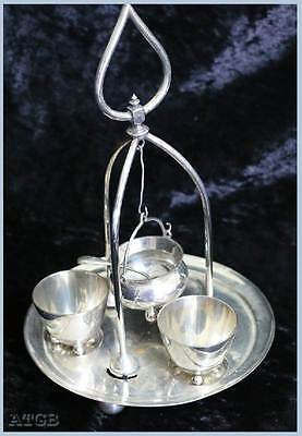 Vintage EPNS silver plated egg cup & mustard pot set with stand