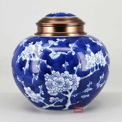 Chinese Blue & White Porcelain tea storage container Ice Plum Pattern tea caddy