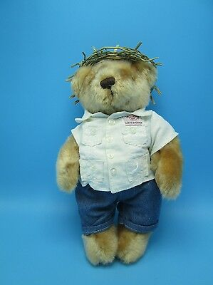Hard Rock Cafe Teddy Bear Collectible 2006 Plush HRC Santo Domingo Straw Hat