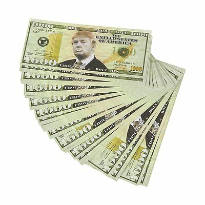 Realistic Double Sided President Trump Prop Money - Set of 100 $1,000 Dollar - &