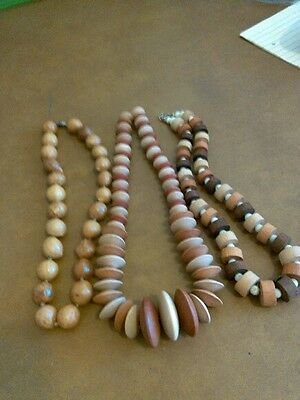 3 wood beaded necklaces