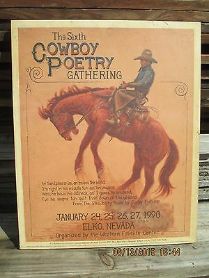 1990 The Sixth Cowboy Poetry Gathering G. Morton Poster C. Fletcher Elko, Nevada