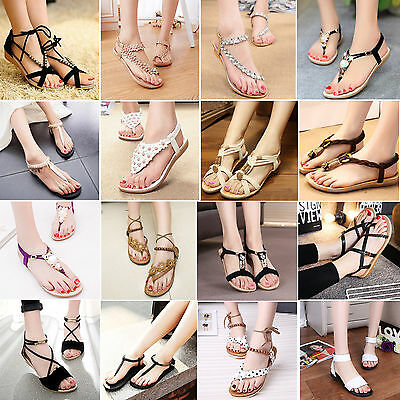 Womens Bohemia Summer Beach Casual Flat Shoes Sandals Thong Slippers Flip Flops