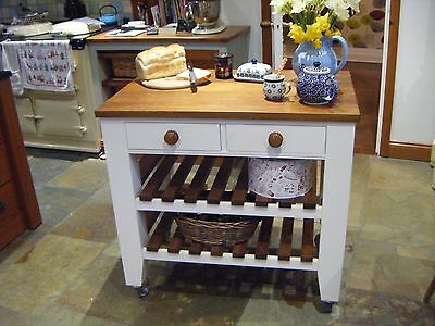 2 Drawer Butchers block / trolley / kitchen island / table / bespoke not oak