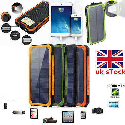 Solar USB Power Bank 100000mAh Waterproof Portable Charger Battery For Phone
