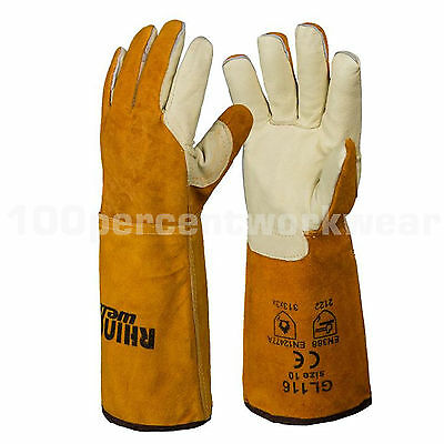 RHINOweld High Quality TIG Welders Leather Welding Gauntlet Work Gloves Lined
