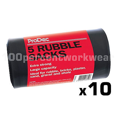 10 x Rolls of 5 Heavy Duty Black Bags Rubble Sacks Builders Gardening Waste Sand