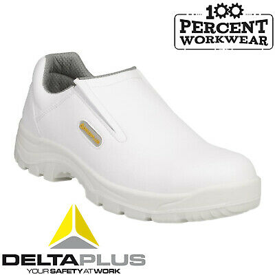 Delta Plus ROBION Safety Work Slip On Shoes White Steel Toe Cap Food Medical Lab