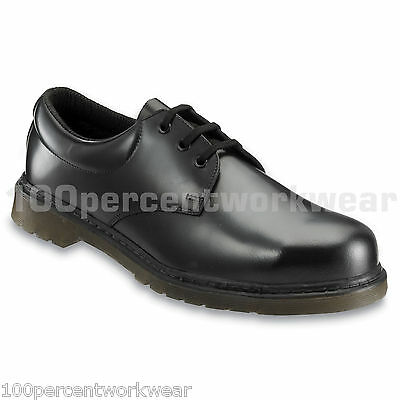 Contractor 160 Black Smooth Leather Safety Work Shoes Steel Toe Air Cushion Sole