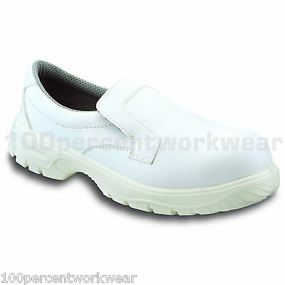 PSF W322 WHITE Hygiene Safety Work Slip On Shoes Steel Toe Cap Lightweight SRC