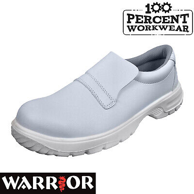 Warrior MMS42 Slip On Microfibre White Hygiene Safety Shoes Steel Toe Cap S2 SRC