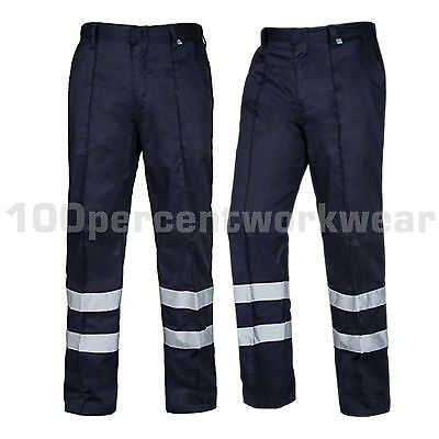 Aqua Navy Blue High Visibility Polycotton Sewn In Crease Work Trousers Pants New