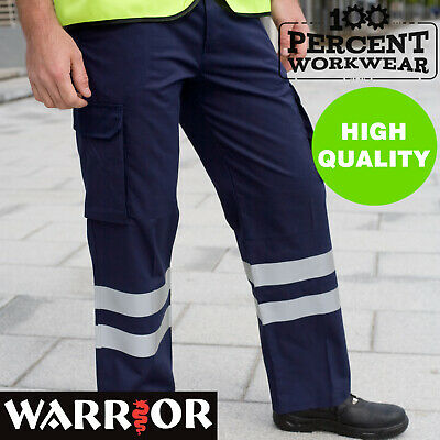 Warrior High Visibility Cargo Work Trousers Pants Hi Vis Viz Knee Pad Pockets