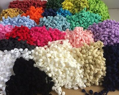 SELL OUT/ CLEARANCE POM POMS 10MT x 2-2.5cm Wide - Available in 23 Colours