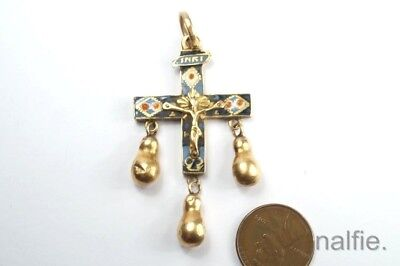 EARLY ANTIQUE EUROPEAN 18th CENTURY 18K GOLD & ENAMEL CRUCIFIX / CROSS PENDANT