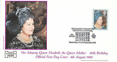 HAVERING OFFICIAL FDC-80th BIRTHDAY HER MAJESTY THE QUEEN MOTHER-CLARENCE HOUSE