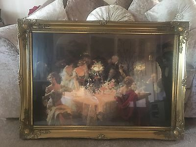 Antique: Vintage : Victorian : Traditional Painting With Glass Frame