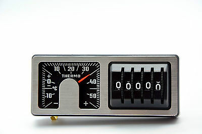 Retro Kilometerzähler & Thermometer 2 in 1 silber 1975 KM Zähler Art.A7261