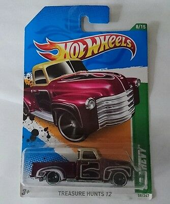 2012 HOT WHEELS 1:64 52 CHEVY TREASURE HUNT V8 PICKUP Muscle UTE Collectable
