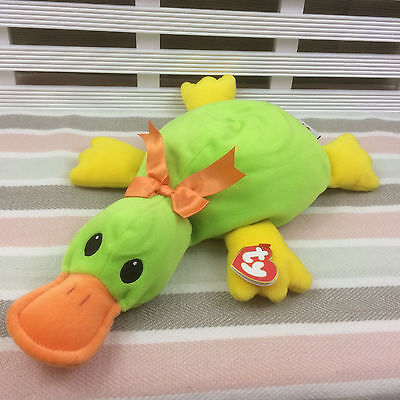 """Ty Pillow Pals Collection Paddles Green & Yellow Duckbill Platypus 14"""" (1998)"""