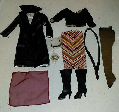 Tonner Emme Doll Escapade Outfit Long Skirt & Black Coat top Scarf Jewelry Boots