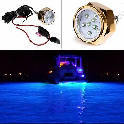 Blue LED Underwater Boat Fishing Light 1800 Lumens Drain Plug 27W 9 LED